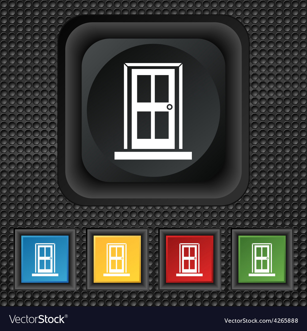Door icon sign symbol squared colourful buttons on vector   Price: 1 Credit (USD $1)