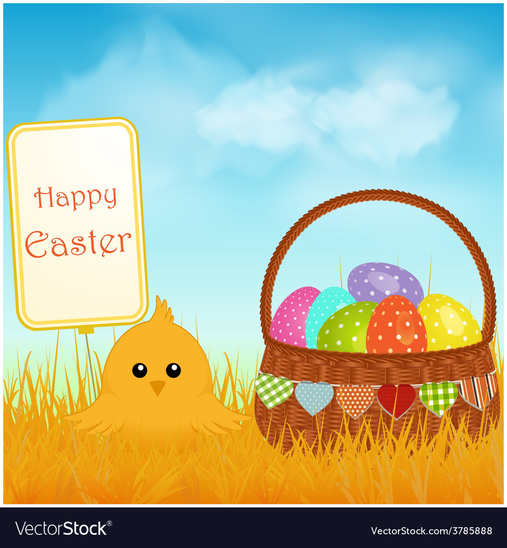 Easter chick and sign with basket and eggs vector | Price: 1 Credit (USD $1)