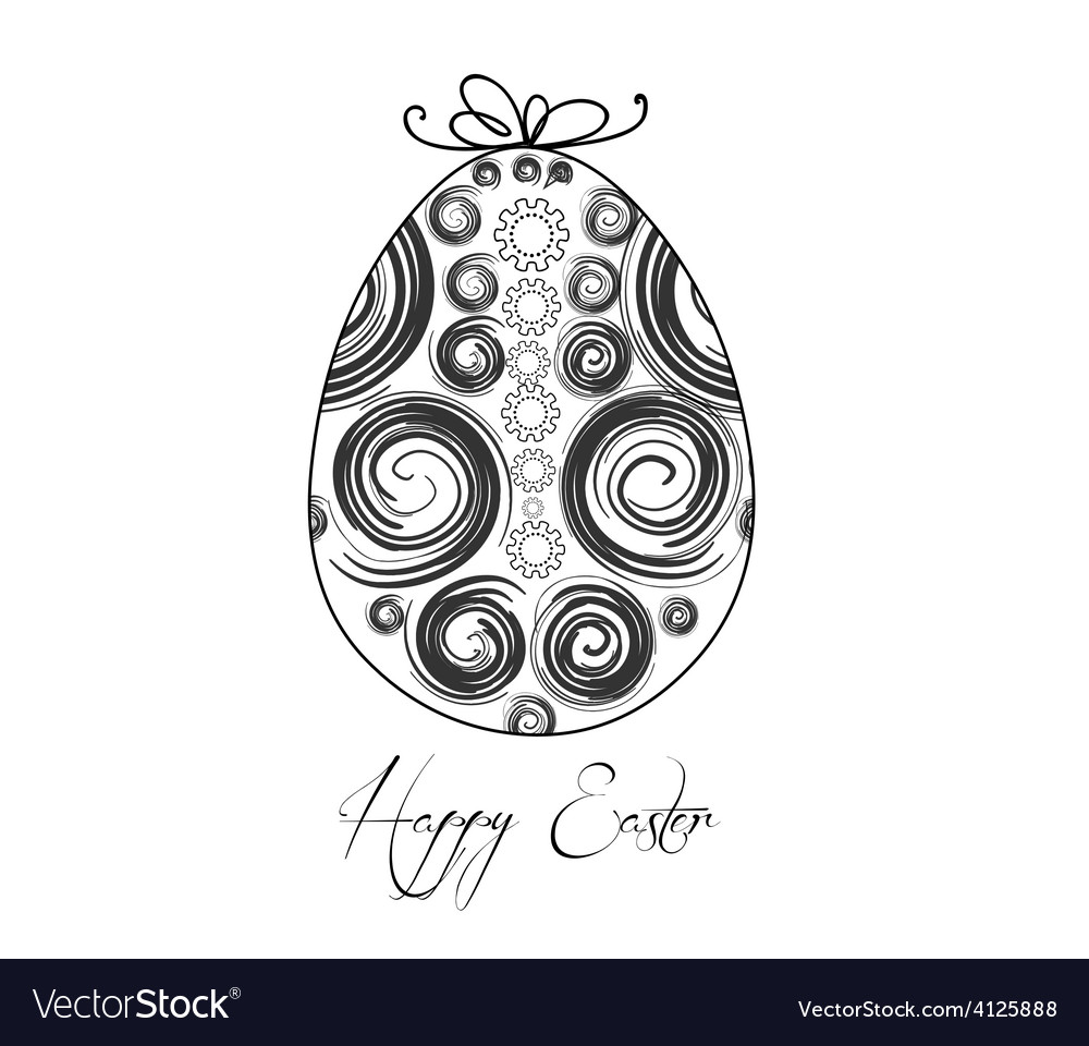 Easter egg with festive bow isolated on white vector | Price: 1 Credit (USD $1)