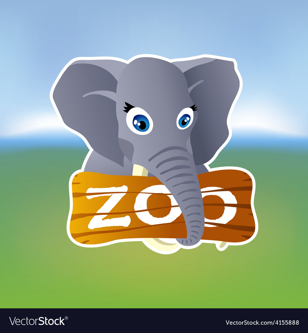 Grey elephant holding zoo plate vector | Price: 1 Credit (USD $1)