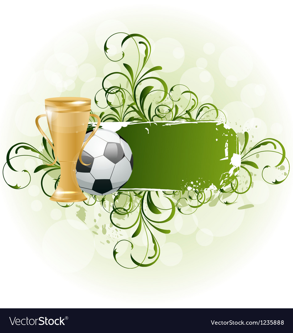 Grunge floral football card with ball and prize vector | Price: 1 Credit (USD $1)