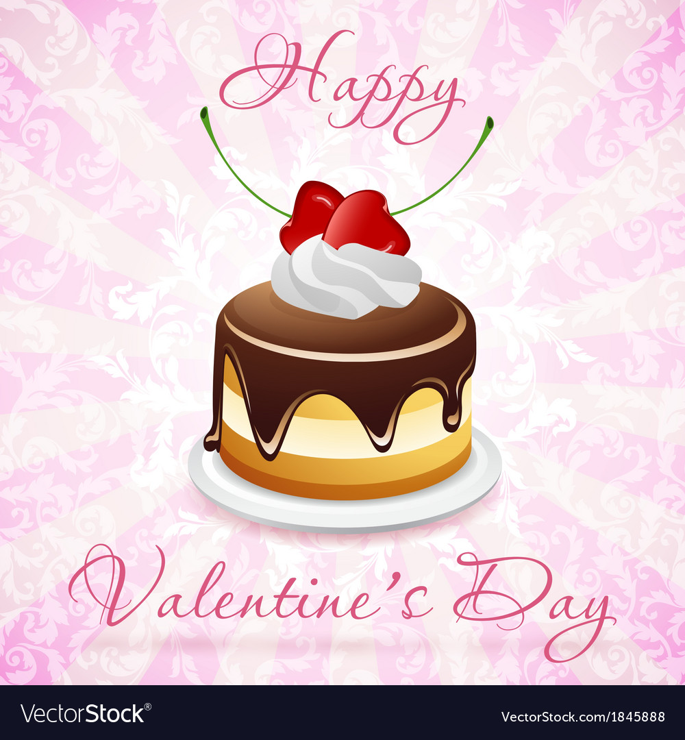 Happy valentines day card with cake vector | Price: 3 Credit (USD $3)