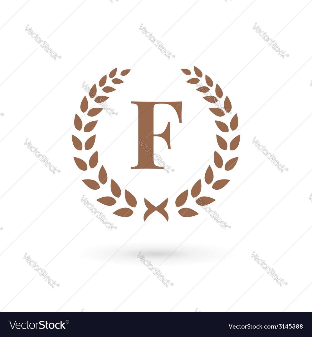 Letter f laurel wreath logo icon vector | Price: 1 Credit (USD $1)