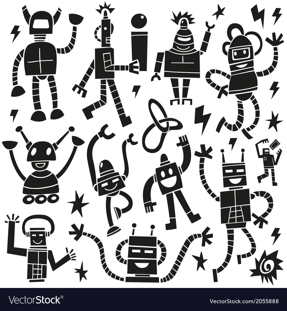Robots - doodles set vector | Price: 1 Credit (USD $1)
