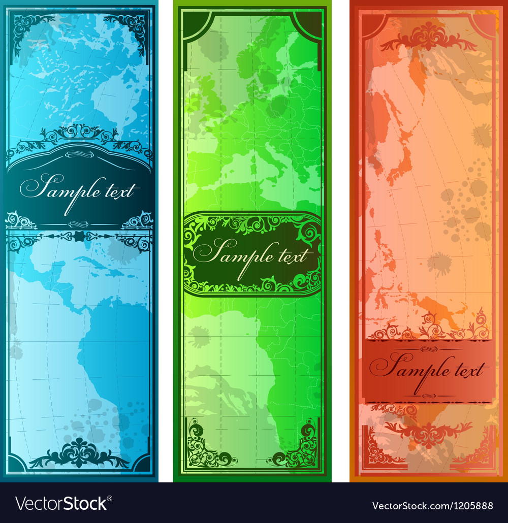 Set of three colorful bookmarks with map vector | Price: 1 Credit (USD $1)