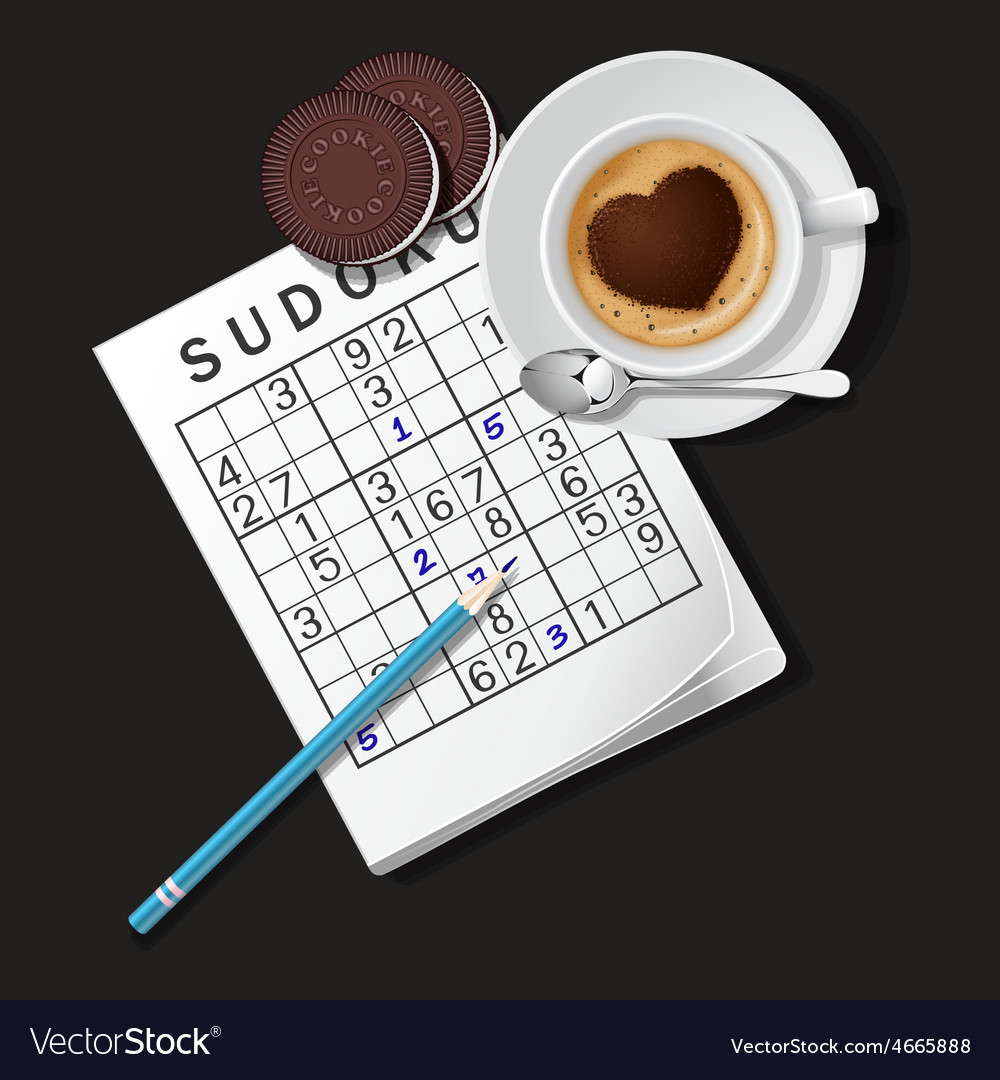 Sudoku game mug of cappuccino and cookies vector | Price: 1 Credit (USD $1)