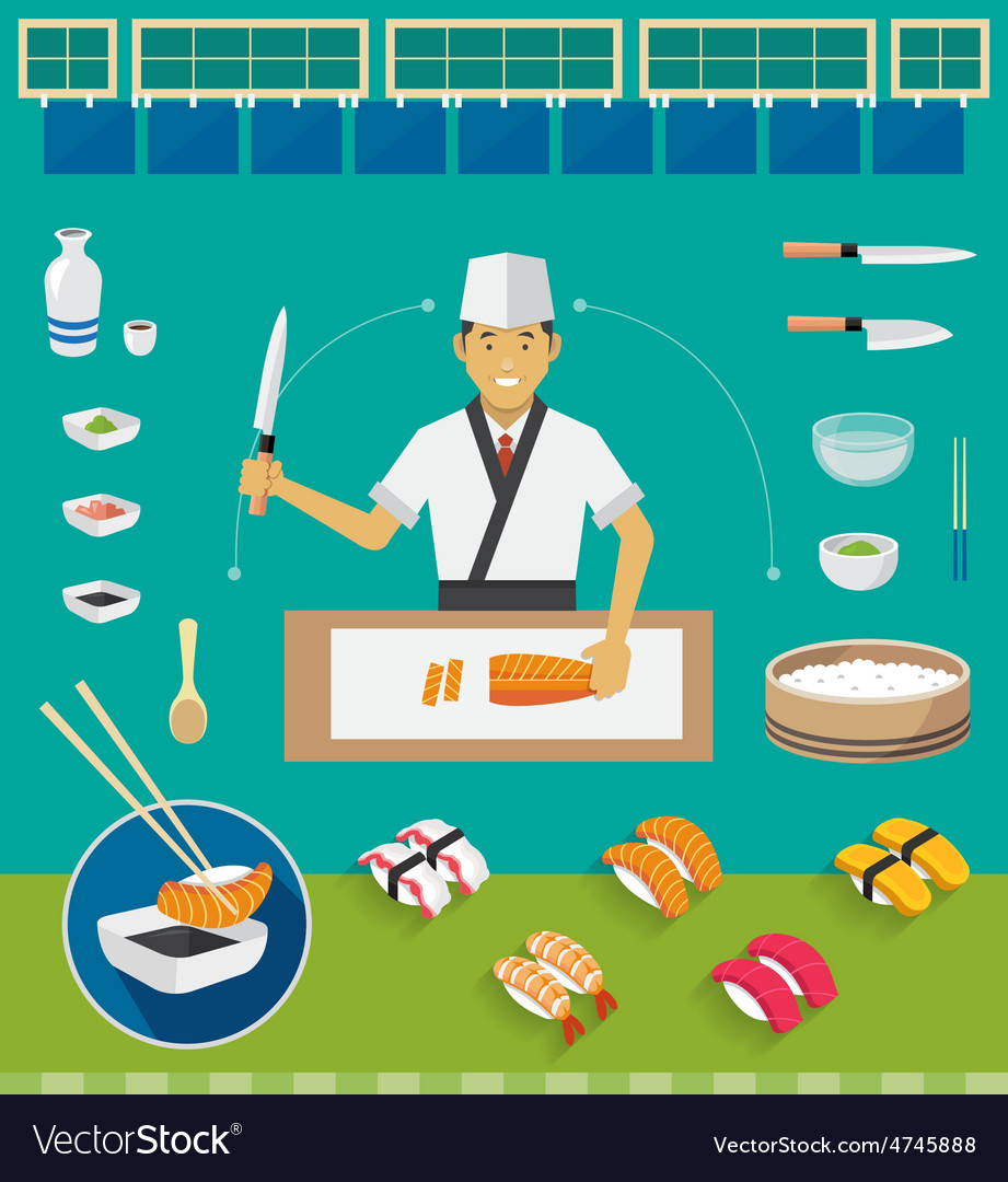 Sushi chef and cookware sets nigiri sushi vector | Price: 1 Credit (USD $1)