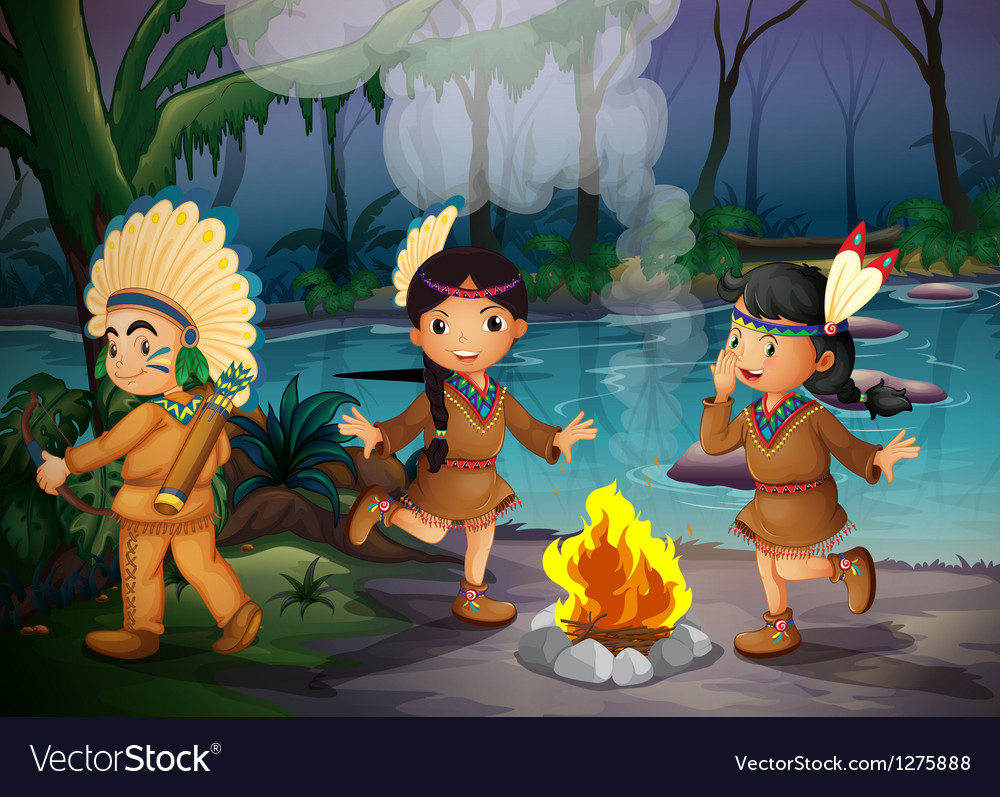Three indian kids inside the forest vector | Price: 1 Credit (USD $1)