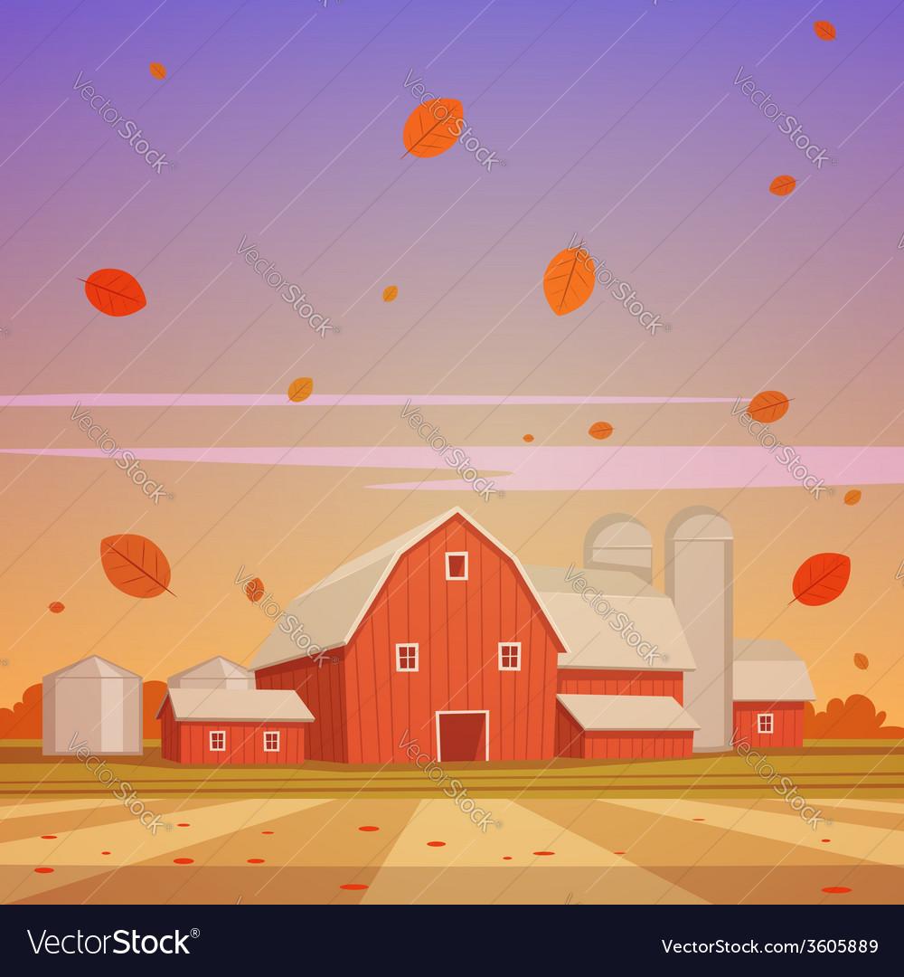 Autumn farm landscape vector | Price: 3 Credit (USD $3)
