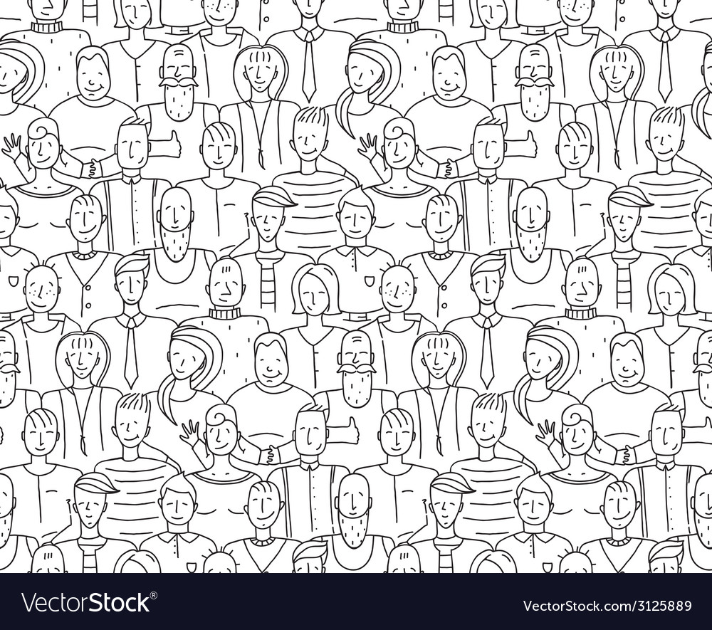 Black and white people throng seamless background vector | Price: 1 Credit (USD $1)