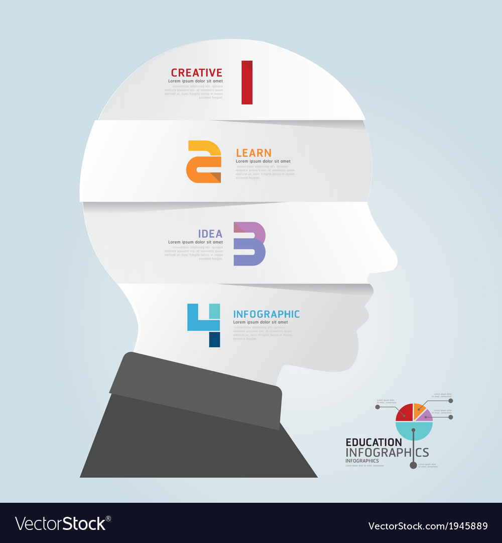 Infographic template with head paper cut banner vector | Price: 1 Credit (USD $1)
