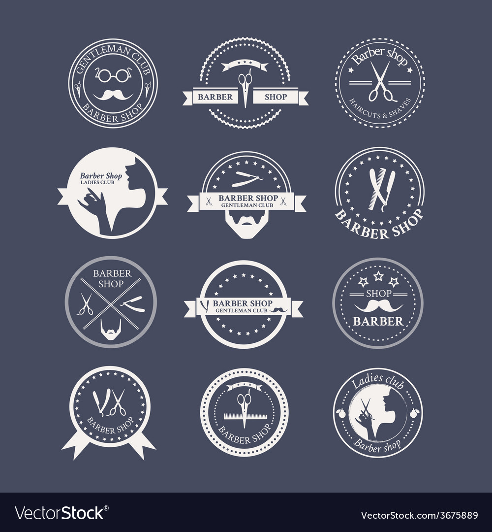 Perfect set of barber and haircut logos vector | Price: 1 Credit (USD $1)