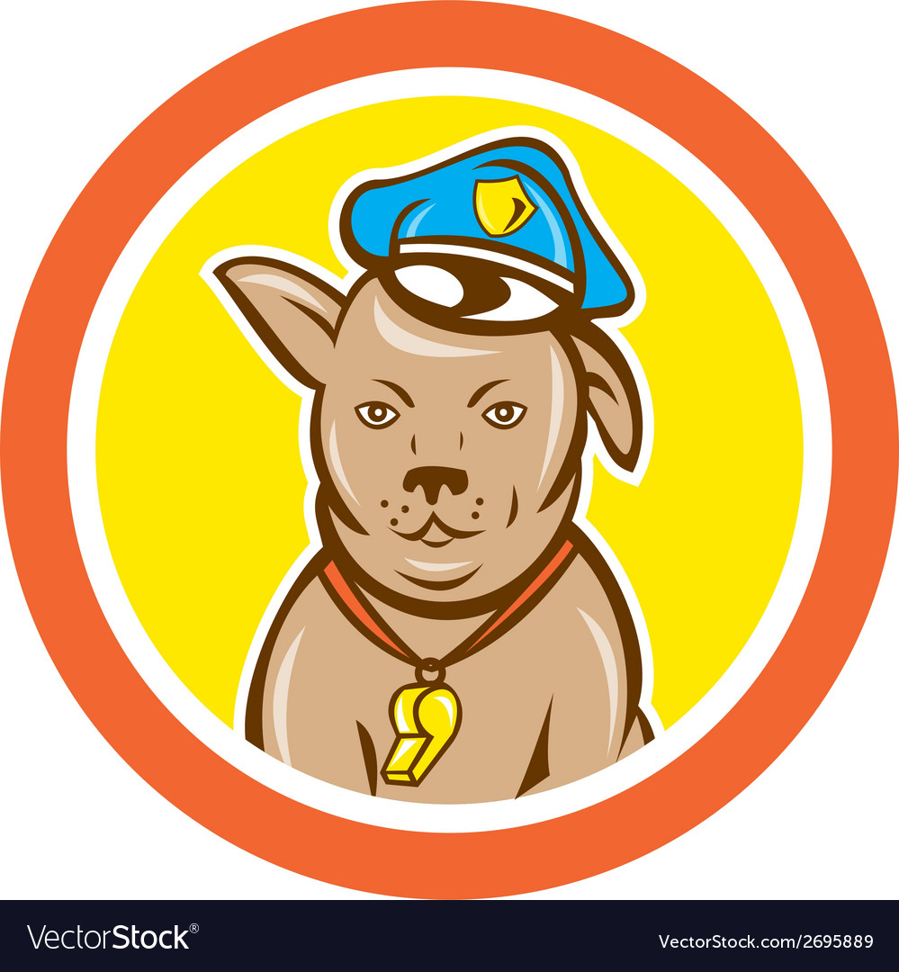 Police dog canine circle cartoon vector | Price: 1 Credit (USD $1)