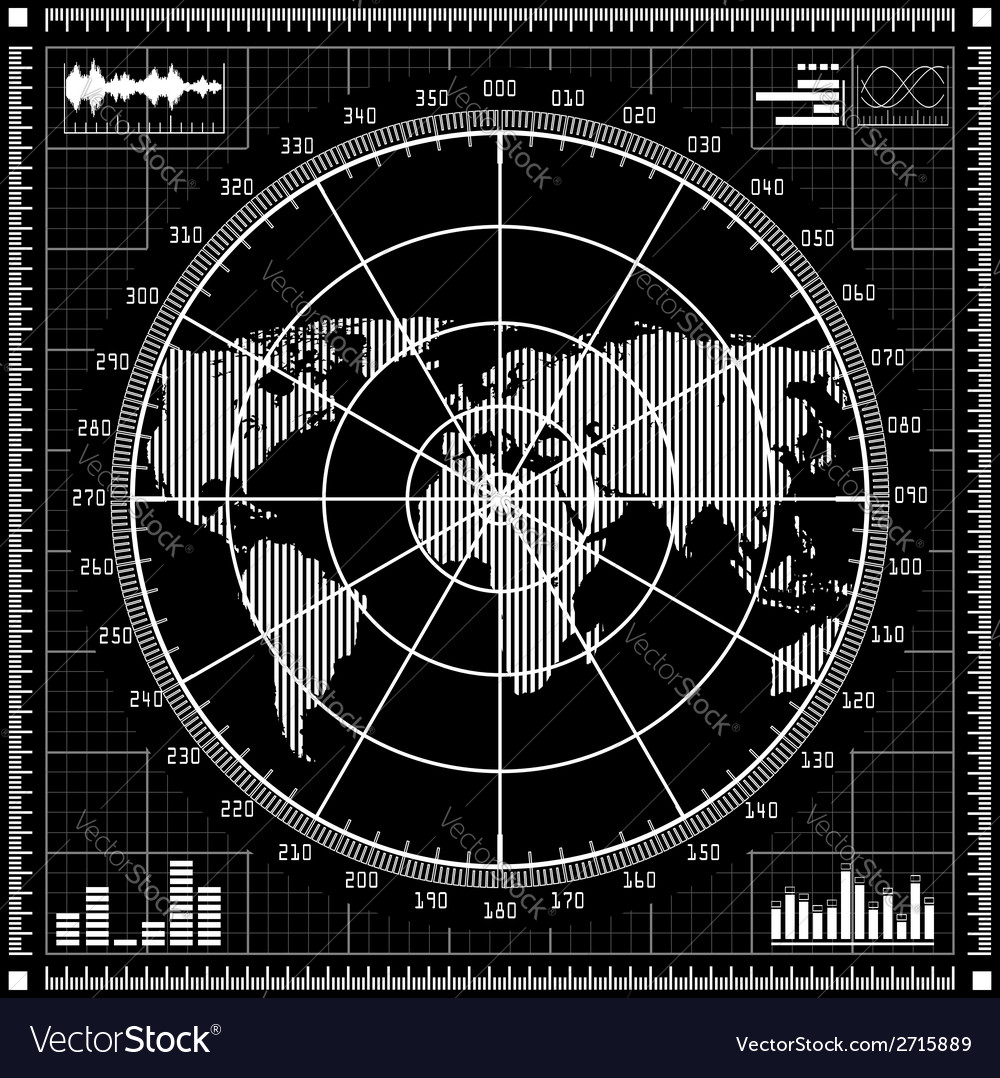 Radar screen black and white vector | Price: 1 Credit (USD $1)