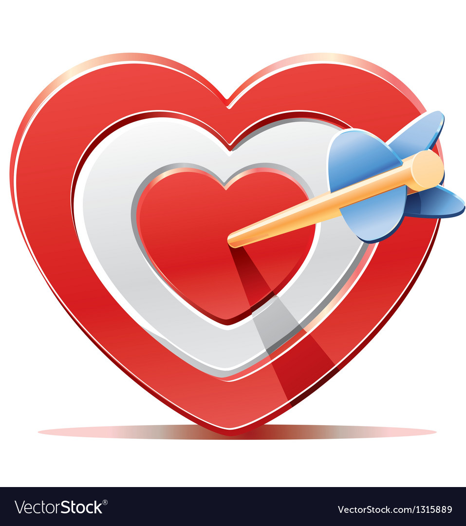 Red heart target aim with arrow vector   Price: 3 Credit (USD $3)
