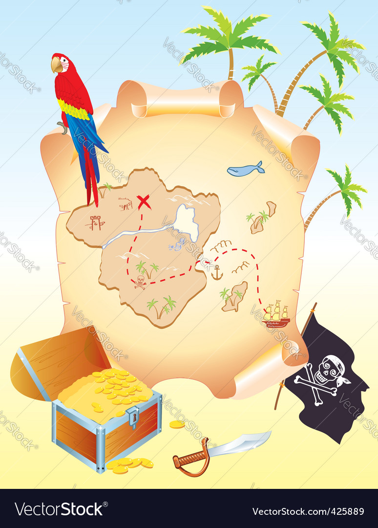 Treasure island poster vector | Price: 1 Credit (USD $1)