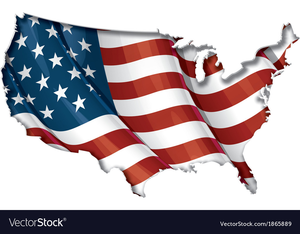 Us flag map inner shadow vector | Price: 1 Credit (USD $1)