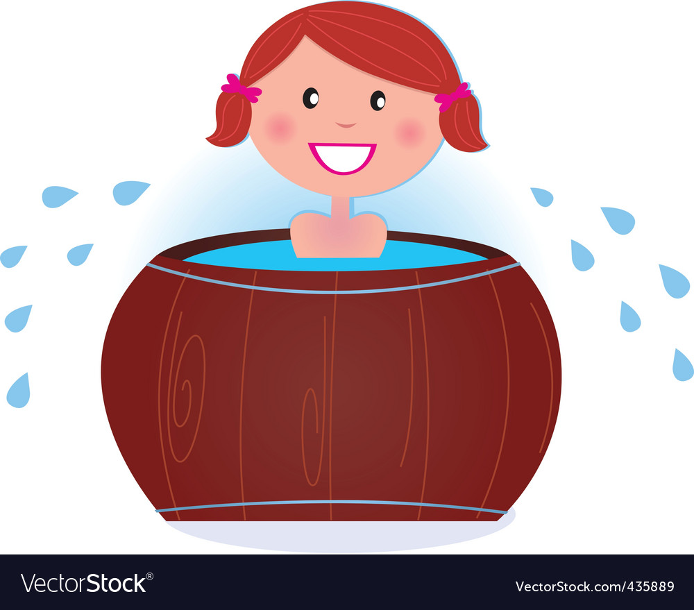 Woman in cold barrel vector | Price: 1 Credit (USD $1)