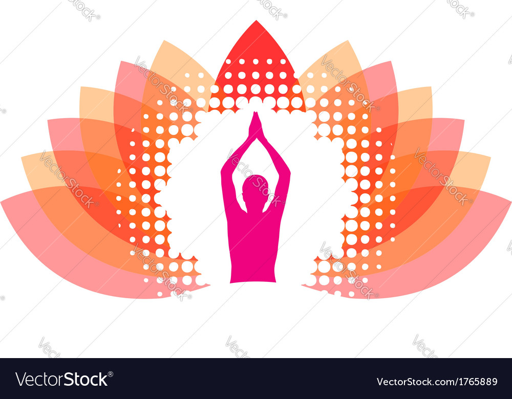 Yogi meditating on abstract lotus vector | Price: 1 Credit (USD $1)