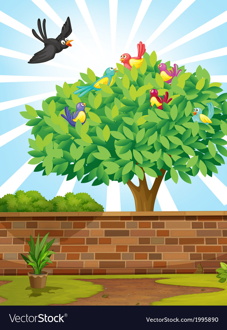 A tree with a flock of birds vector | Price: 3 Credit (USD $3)