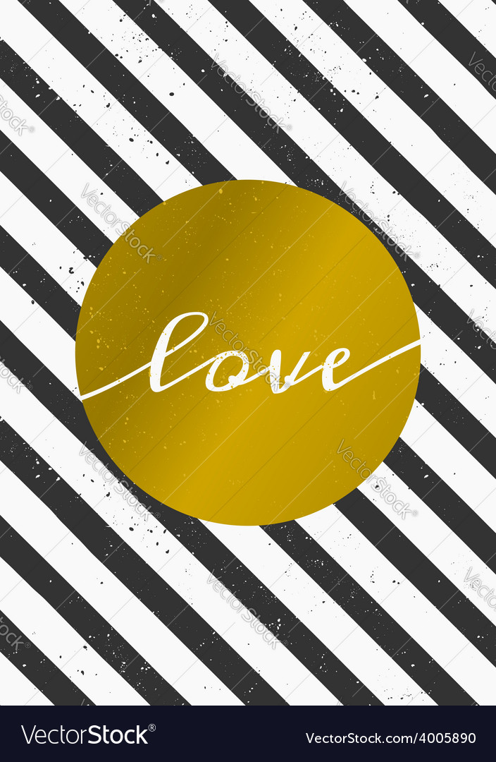 Black and white stripes gold circle love card vector | Price: 1 Credit (USD $1)