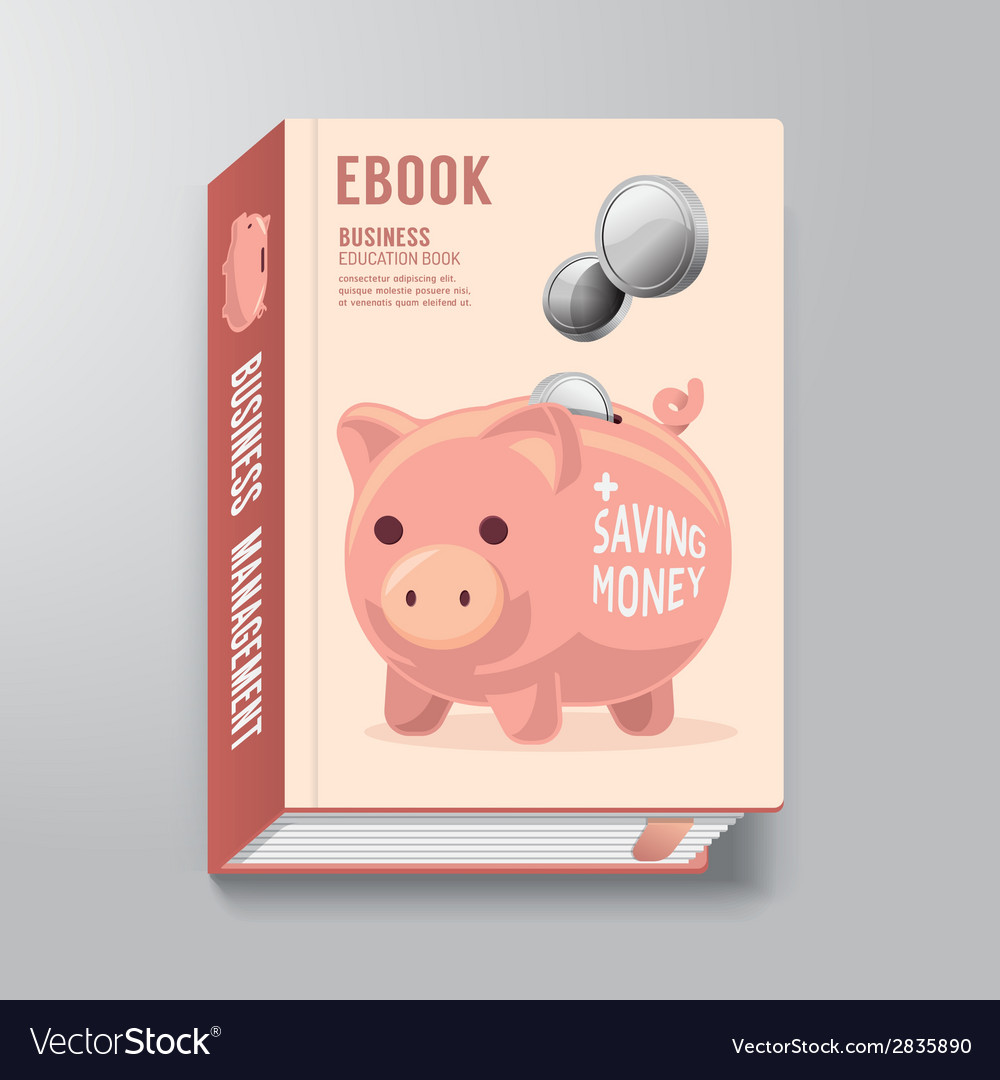 Book cover design template business piggy bank vector | Price: 1 Credit (USD $1)