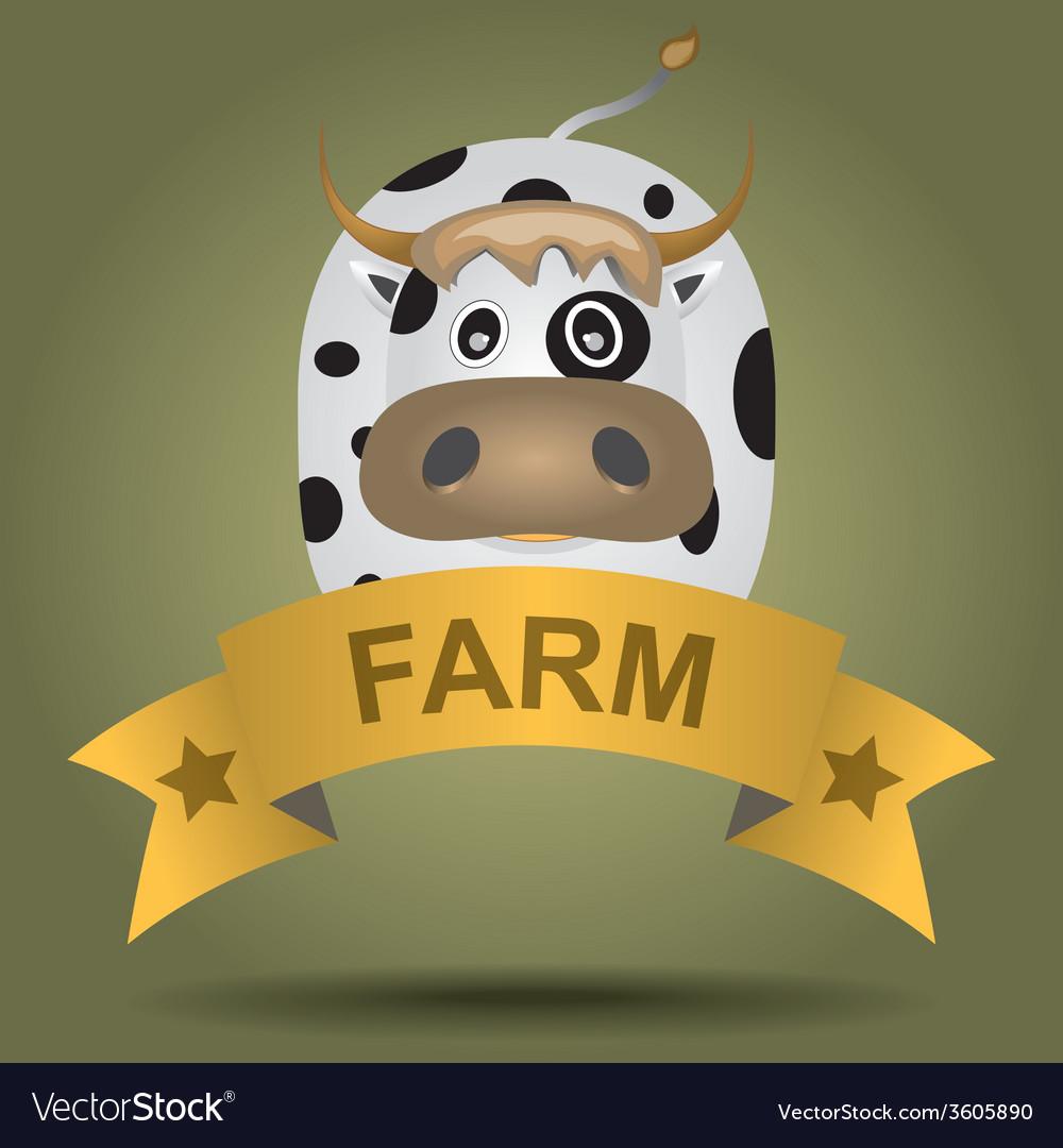 Cartoon logo with a cow vector   Price: 1 Credit (USD $1)