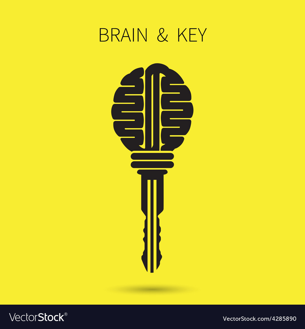 Creative brain sign with key symbol vector | Price: 1 Credit (USD $1)