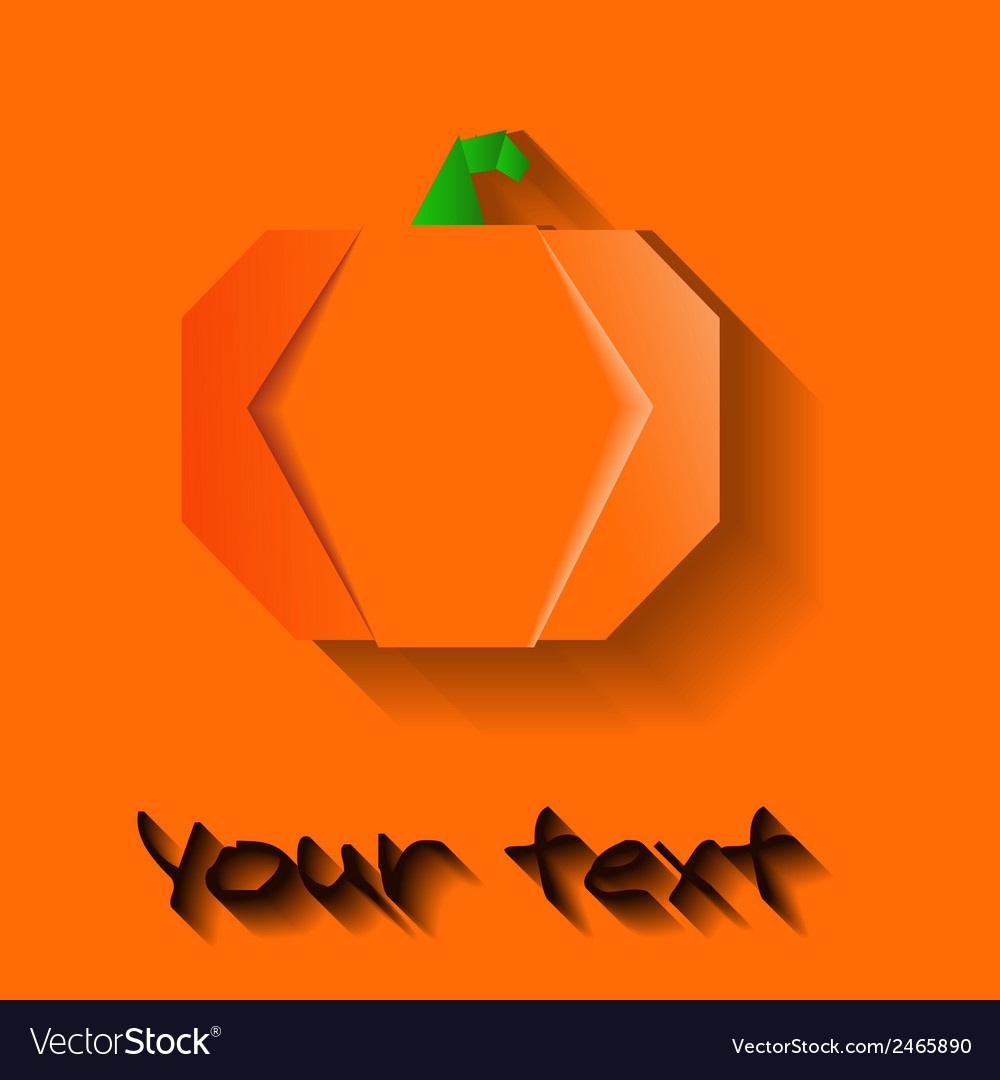 Orange origami halloween pumpkin vector | Price: 1 Credit (USD $1)