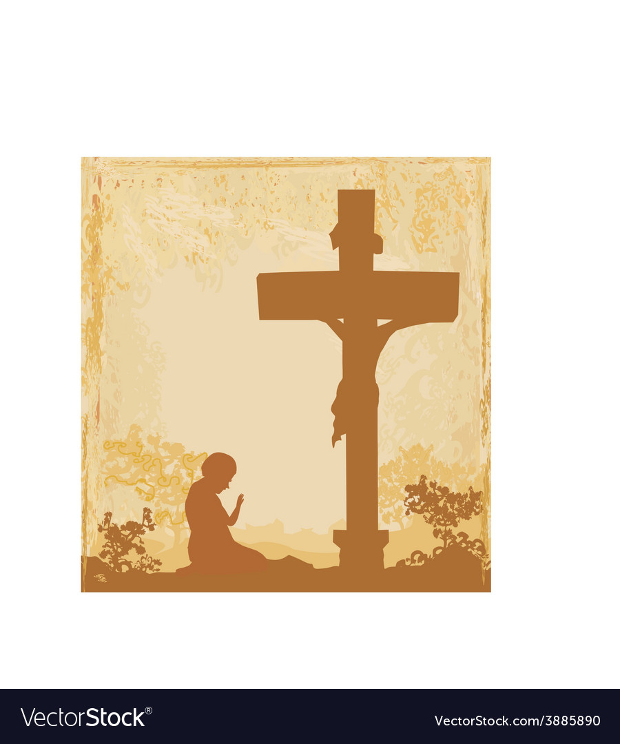 Prayers by the cross grunge background vector | Price: 1 Credit (USD $1)