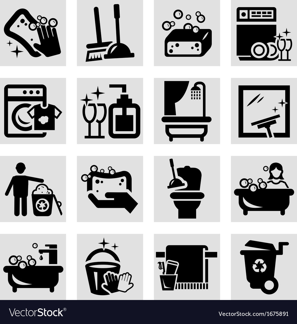 Cleaning black icons vector | Price: 1 Credit (USD $1)
