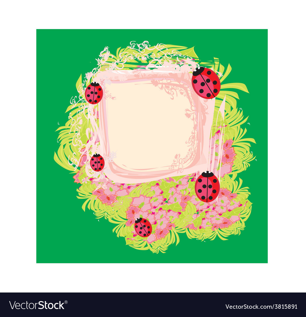 Family of ladybugs on the abstract floral vector | Price: 1 Credit (USD $1)