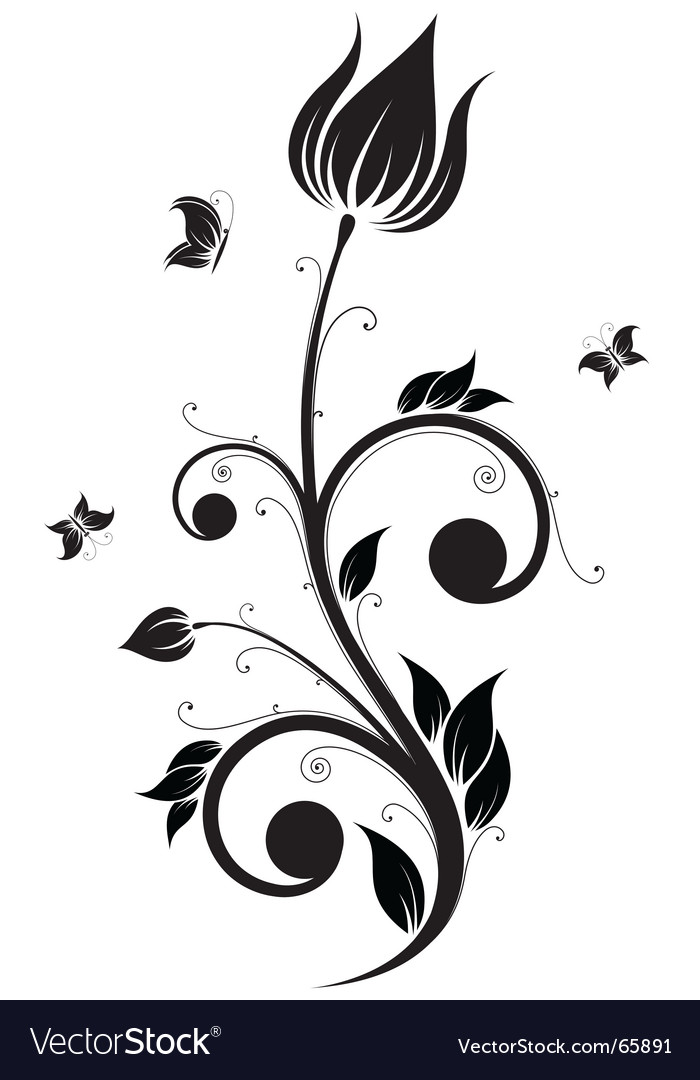 Flower scroll vector | Price: 1 Credit (USD $1)