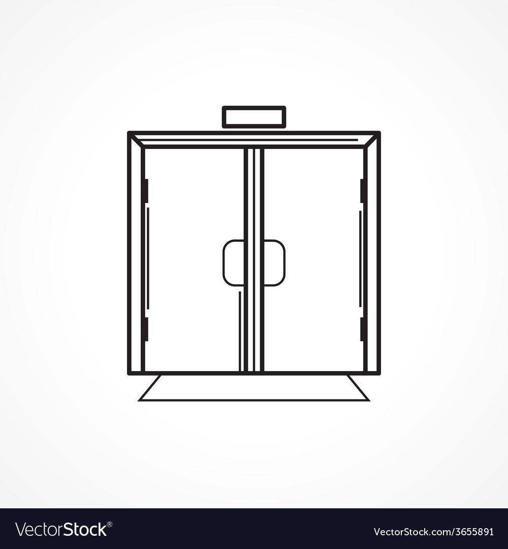 Indoors glass door black line icon vector | Price: 1 Credit (USD $1)