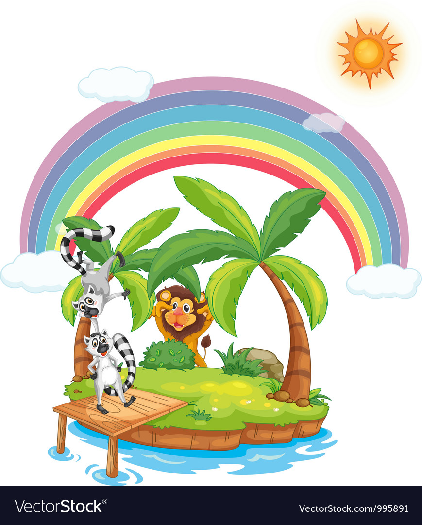 Paradise island with animals vector | Price: 3 Credit (USD $3)