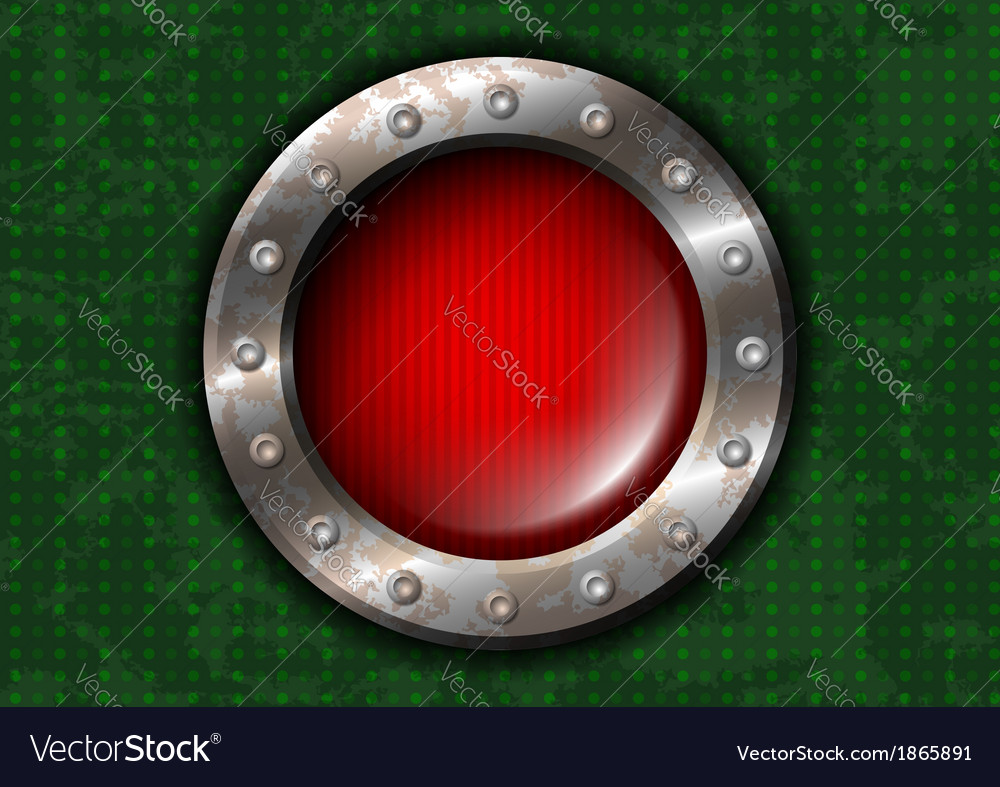Red round lamp with metal frame and rivets vector | Price: 1 Credit (USD $1)