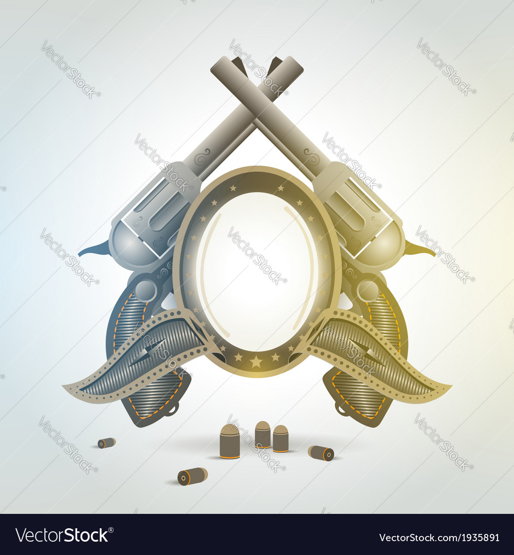 Revolver gun weapon element emblem vector | Price: 1 Credit (USD $1)