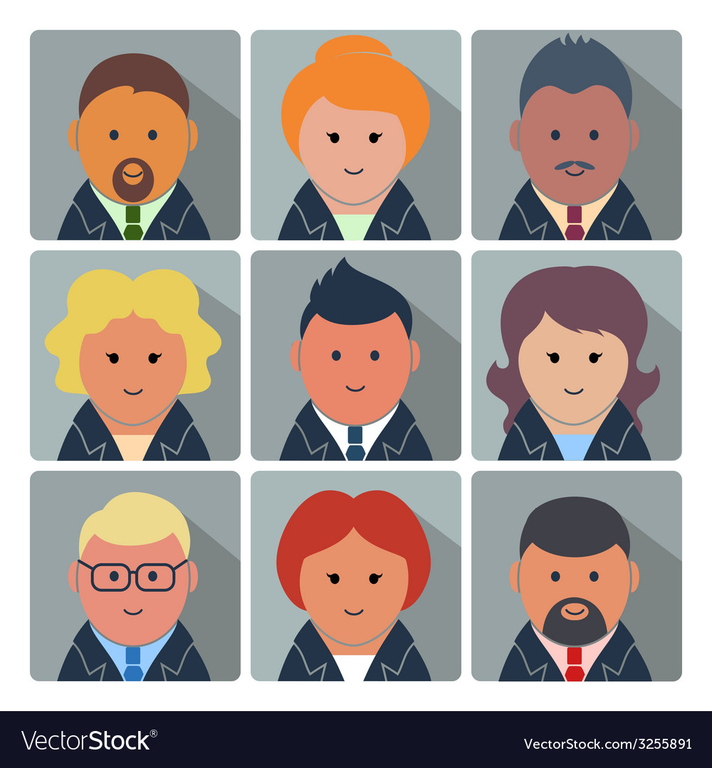 Set of avatar icons with business people vector | Price: 1 Credit (USD $1)