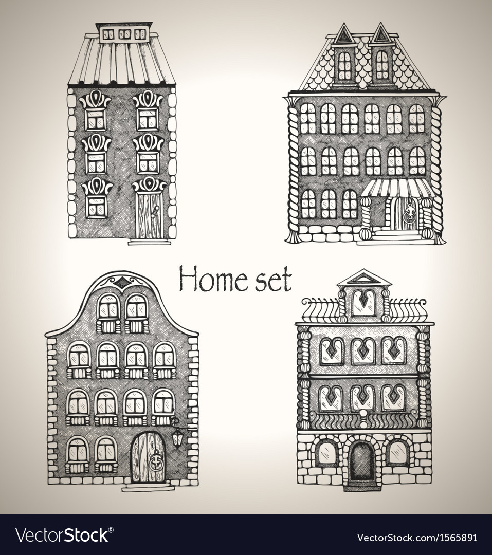 Set of retro house vector | Price: 1 Credit (USD $1)