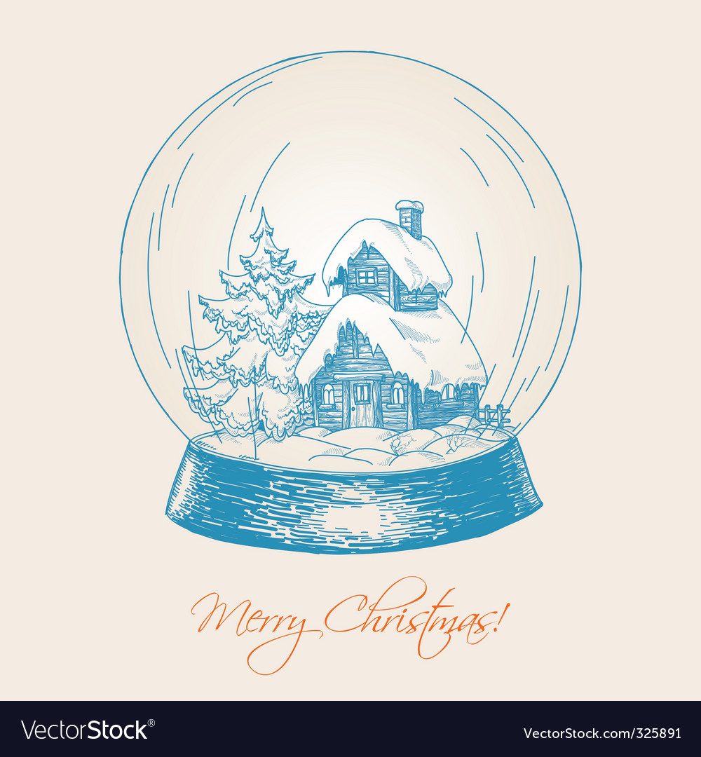 Snow globe sketch vector | Price: 1 Credit (USD $1)