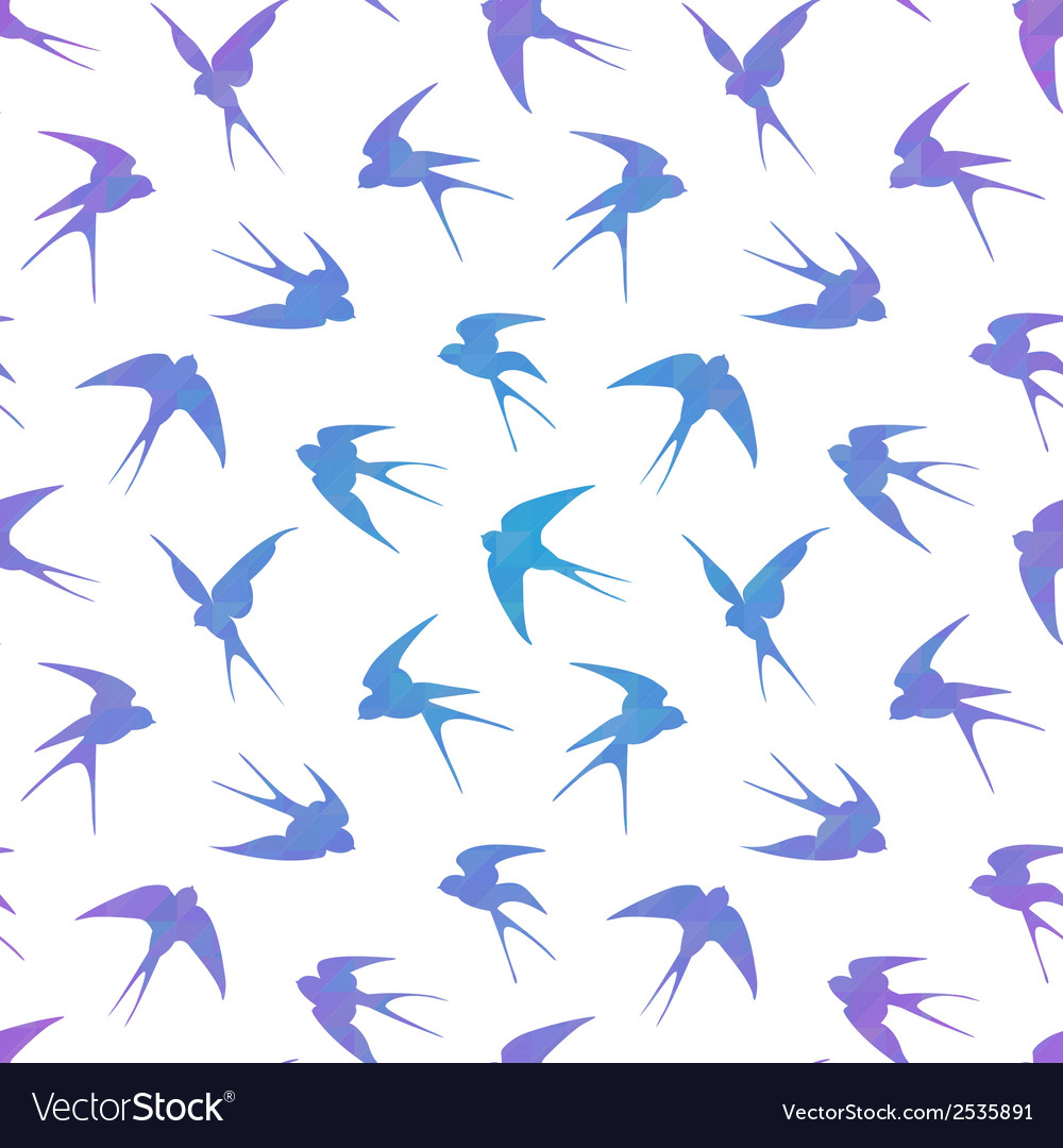Stylish geometric seamless pattern with swallows vector | Price: 1 Credit (USD $1)