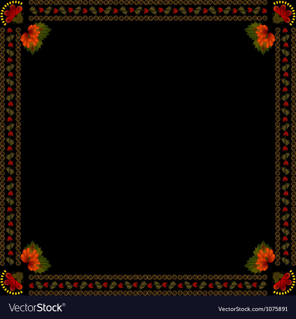 Ukrainian national floral ornament on dark backgro vector | Price: 1 Credit (USD $1)