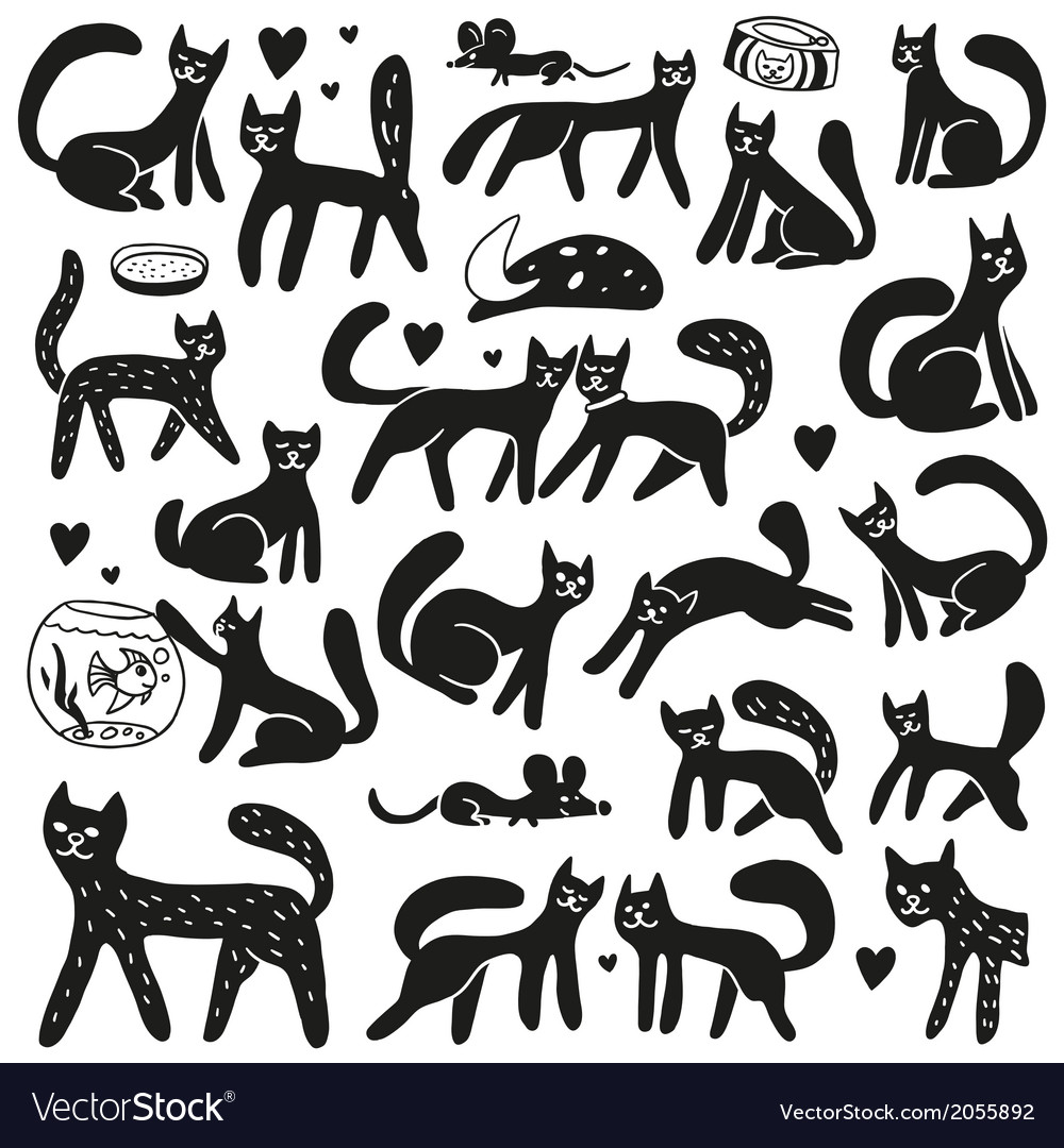 Cats - doodles set vector | Price: 1 Credit (USD $1)
