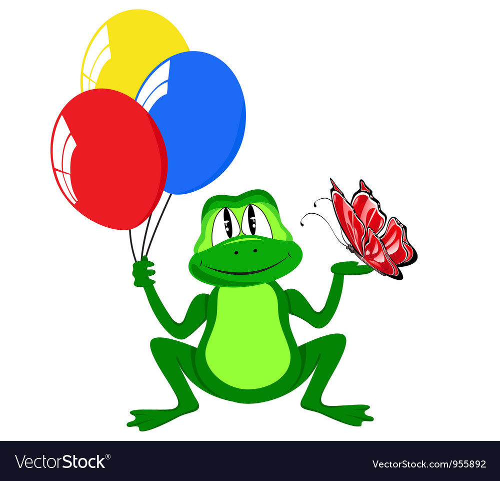 Cheerful frog with air balls vector | Price: 1 Credit (USD $1)