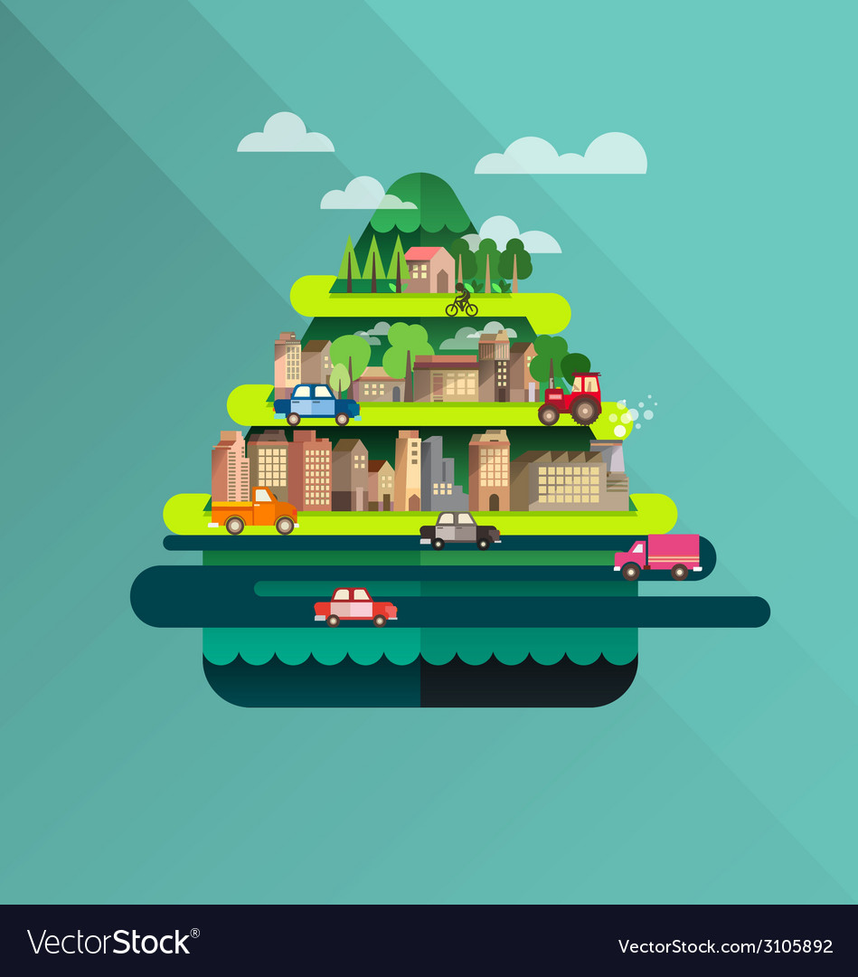City travel landscape and building vector | Price: 1 Credit (USD $1)