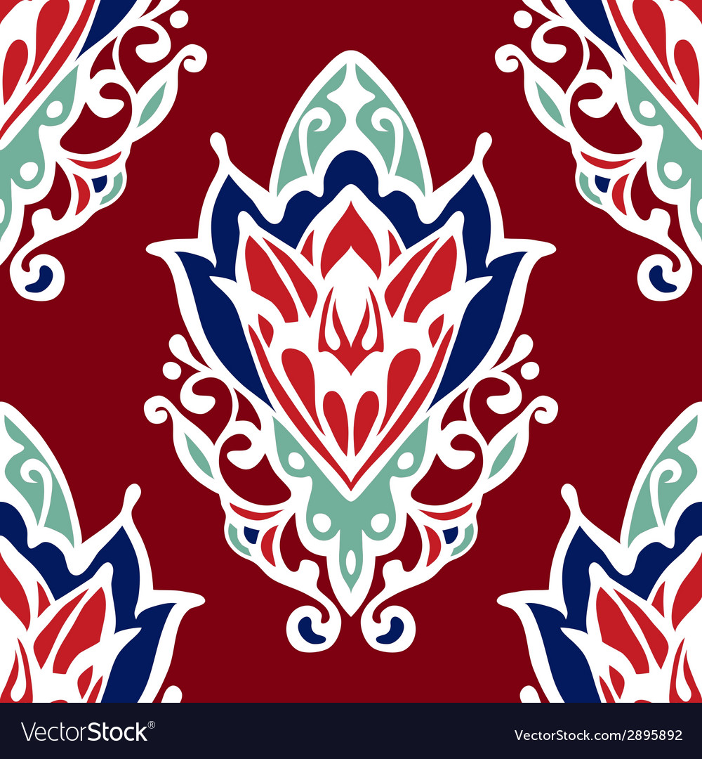 Damask flower red seamless design vector | Price: 1 Credit (USD $1)