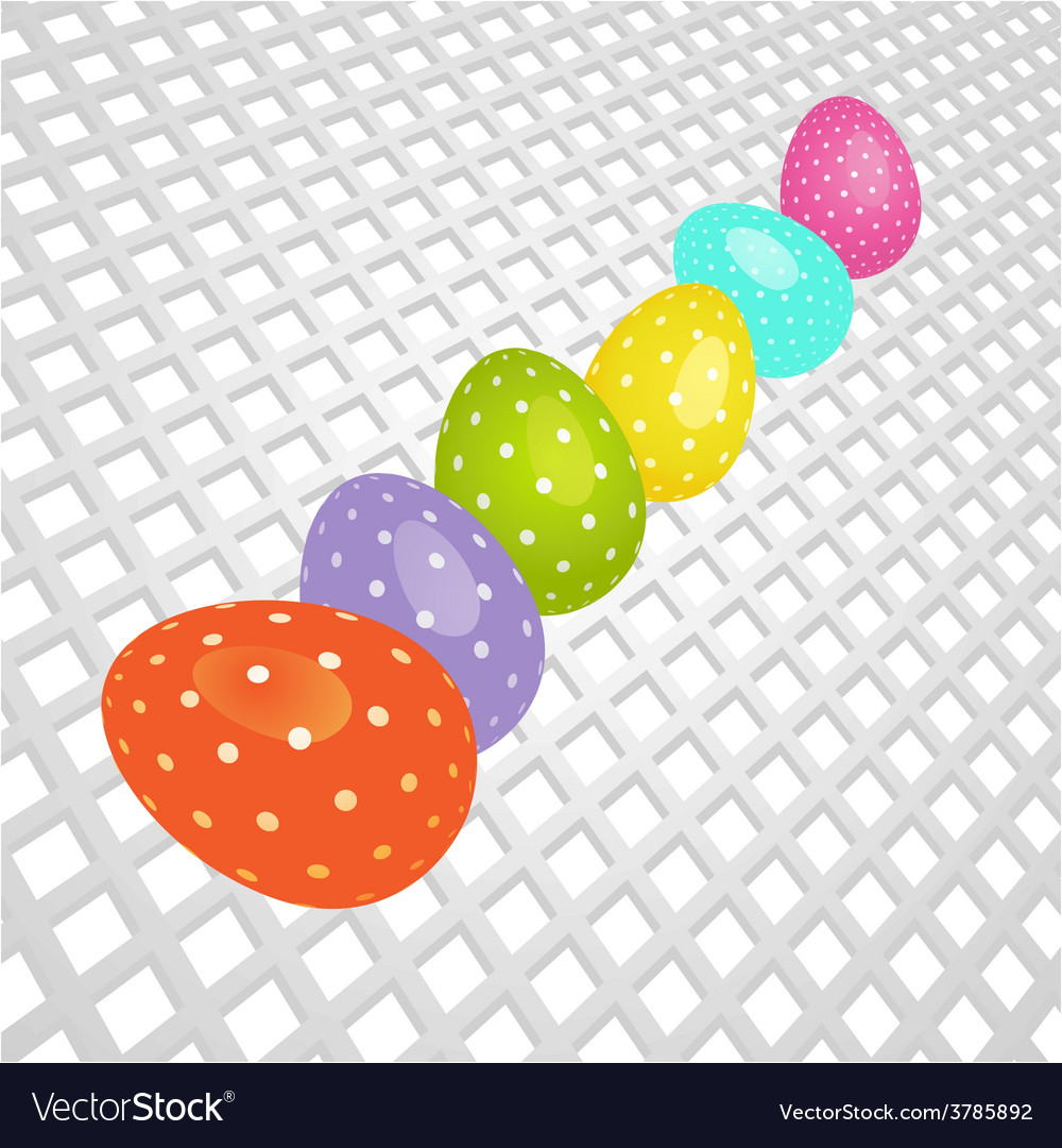 Easter coloured eggs on white 3d background vector | Price: 1 Credit (USD $1)