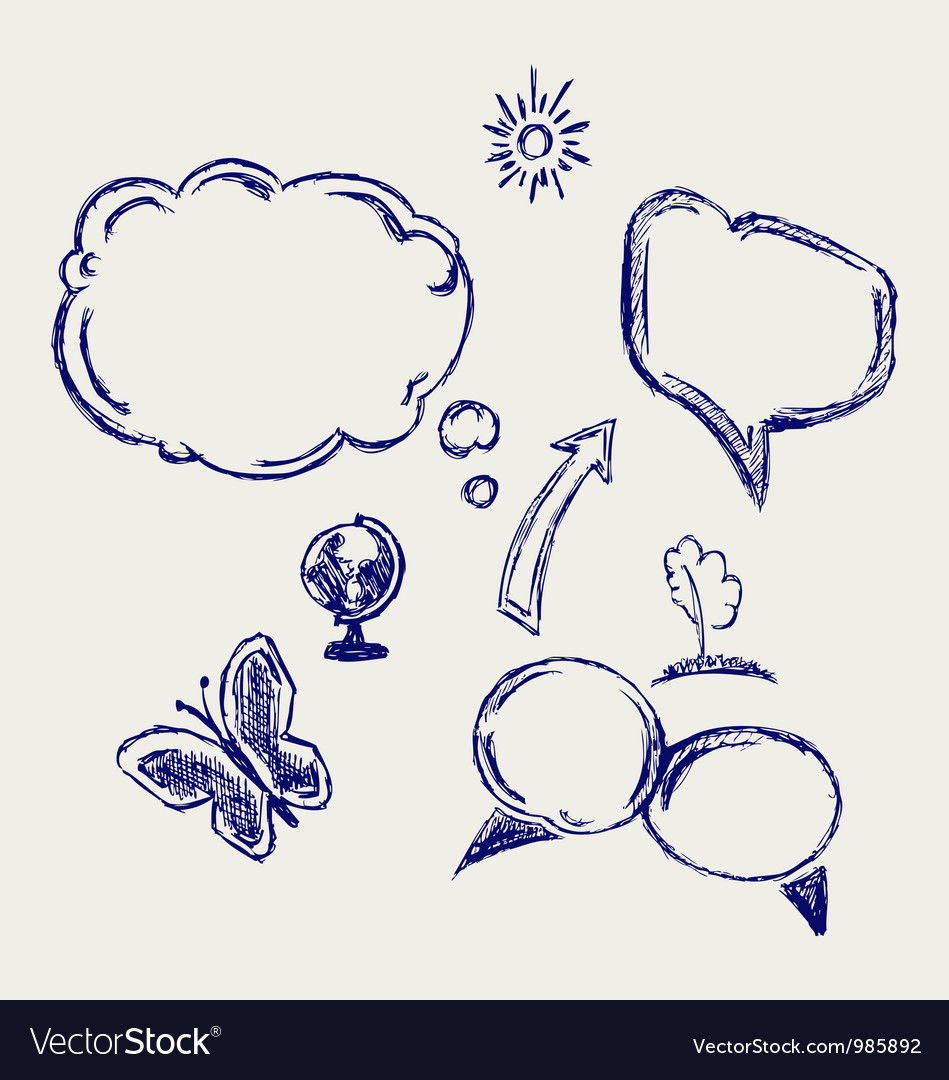 Hand drawn speech bubbles vector | Price: 1 Credit (USD $1)