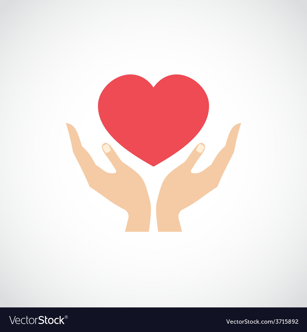 Hand hold protect heart vector | Price: 1 Credit (USD $1)