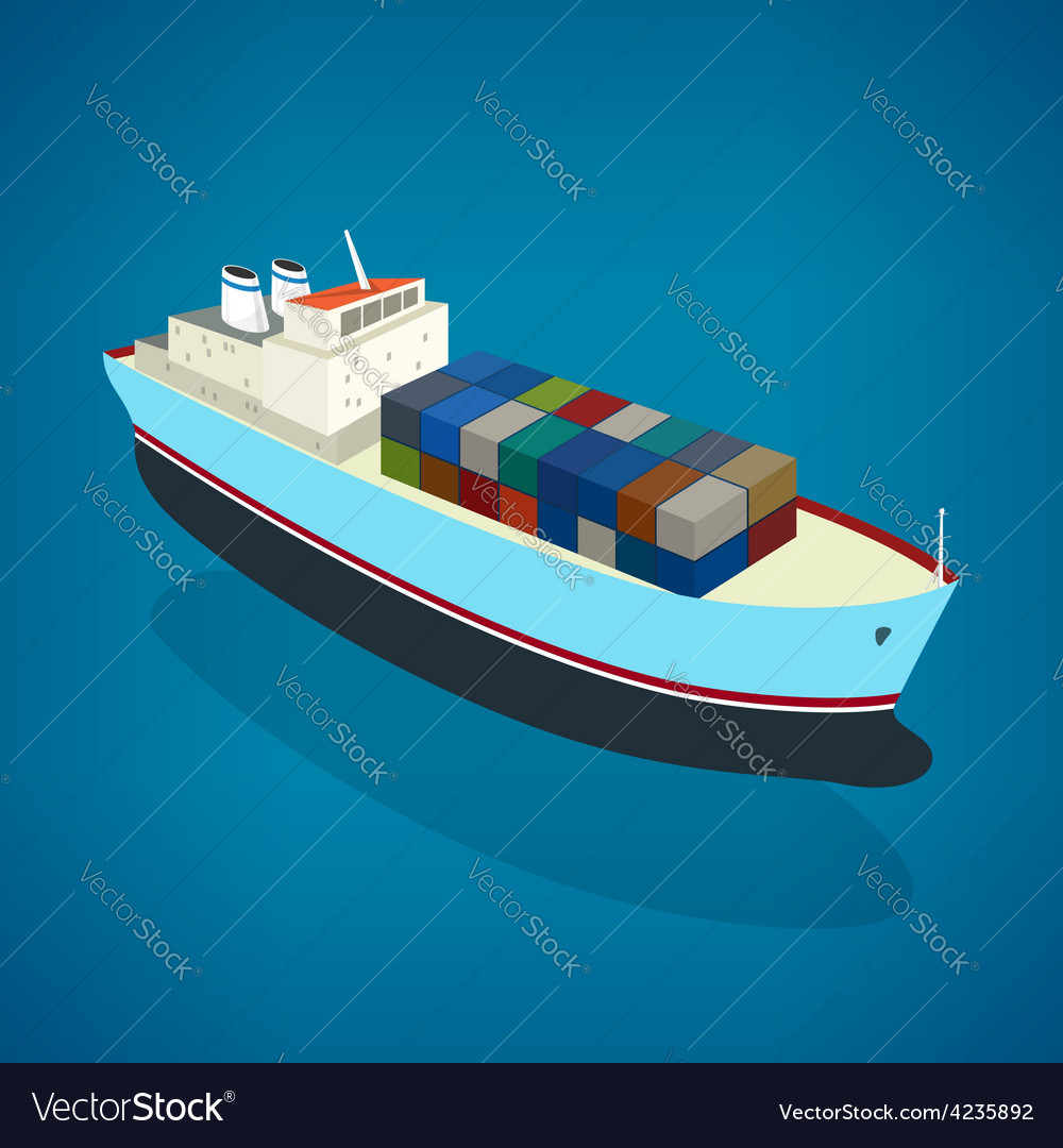 Isometric container ship on the water vector | Price: 1 Credit (USD $1)